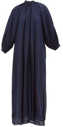 Marrakshi Life - Gathered-neck Cotton-blend Maxi Dress - Womens - Navy