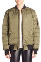 Blanc Noir Zip-Front Bomber Jacket