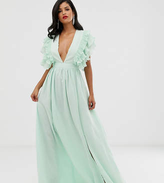 True Decadence Tall premium plunge front maxi dress with shoulder detail in soft mint-Green