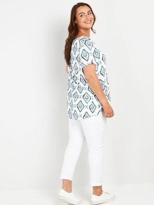 Evans Batik Short Sleeve T-shirt - White/Blue