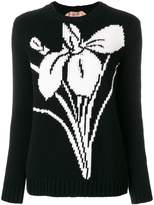 No.21 floral-intarsia sweater
