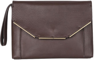 Lanvin Brown Leather Envelope Clutch