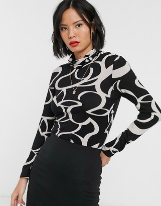 Selected roll neck top in mono graphic print-Black