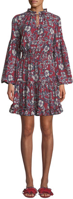 Shoshanna Moravia Floral Long-Sleeve Shirt Dress