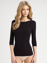 Spanx 978 On Top and In Control Three-Quarter Sleeve Boatneck Shaping Shirt Top