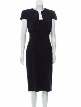 Alexander McQueen Wool Midi Dress Navy