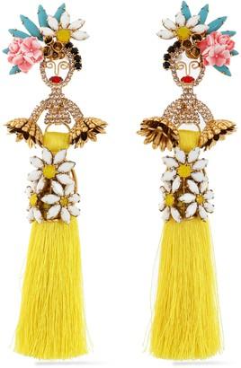 Elizabeth Cole 24-karat Gold-plated, Swarovski Crystal, Stone, Acrylic And Tassel Earrings