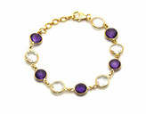 Tresor Collection - Amethyst Round And Crystal Round Bracelet In 18K YG