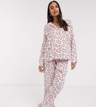 Asos DESIGN Maternity Christmas candy cane 100% modal traditional pyjama set-Pink