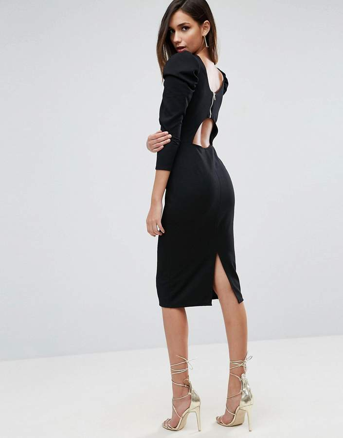 Asos Design Midi Dress With Puff Sleeve and Cut Out Back