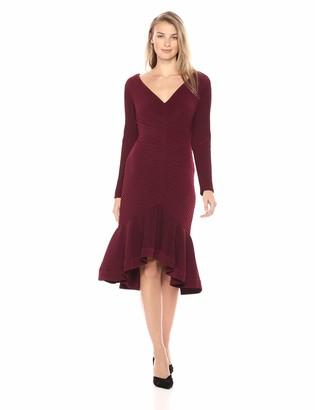 Tadashi Shoji Women's l/s Pintuck hi-Low Dress