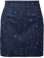 Miu Miu Crystal-embellished Denim Mini Skirt - Mid denim