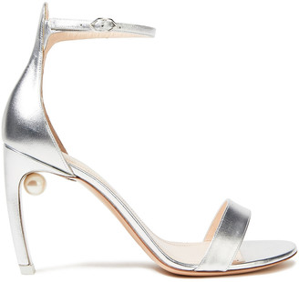 Nicholas Kirkwood Embellished Metallic Leather Sandals