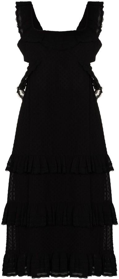 Zimmermann Rear-Tie Tiered Midi Dress