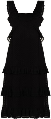 Zimmermann Rear-Tie Tiered Midi Dress