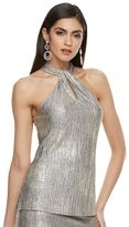 JLO by Jennifer Lopez Women's Metallic Twist Halter Top