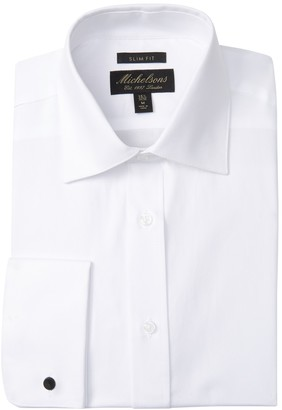 Michelsons Textured Solid Slim Fit Tuxedo Dress Shirt
