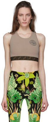 Fendi Beige Forever Elastic Band Sports Bra