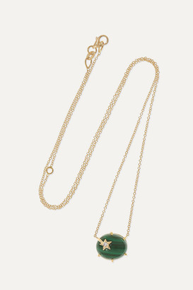 Andrea Fohrman Mini Galaxy 18-karat Gold, Malachite And Diamond Necklace - one size