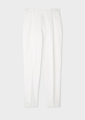 Paul Smith Men's White Brushed-Cotton Pleated Trousers