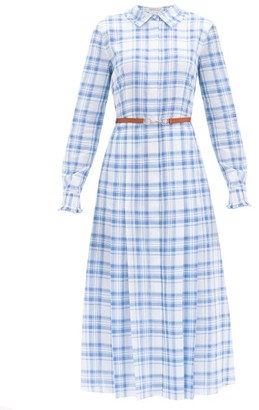 Gabriela Hearst Jane Belted Checked-cotton Midi Shirt Dress - Blue White