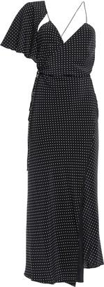 Mason by Michelle Mason Asymmetric Draped Polka-dot Silk Crepe De Chine Maxi Dress