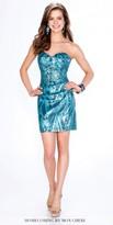 Mon Cheri Shorts Strapless Sequin Tonal Dress
