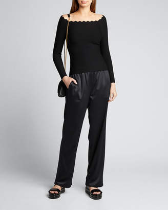 Milly Scallop Off-the-Shoulder Sweater