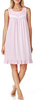 Eileen West Geometric Floral Ruffled Jersey Nightgown