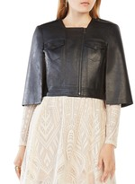BCBGMAXAZRIA Richie Cropped Faux Leather Cape