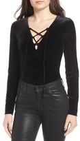 Sun & Shadow Women's Lace-Up Velvet Bodysuit