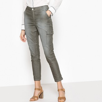 """La Redoute Collections Garment-Dyed Slim Fit Combat Trousers, Length 26"""""""