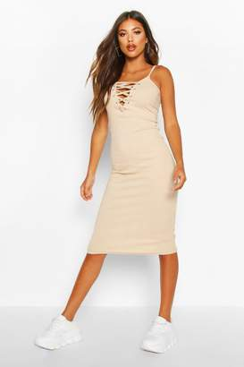 boohoo Premium Rib Lace Up Strappy Midi Dress