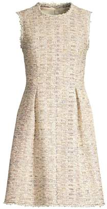 Rebecca Taylor Sleeveless Rainbow Tweed A-Line Dress