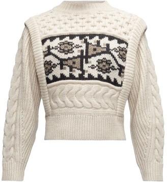 Etoile Isabel Marant Rioja Jacquard-patterned Cable-knit Wool Sweater - Ivory Multi