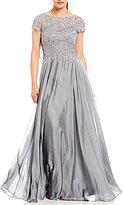La Femme Lace Bodice Chiffon A Line Gown