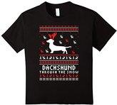 Kids Dachshund through the snow ugly sweater christmas shirt 4