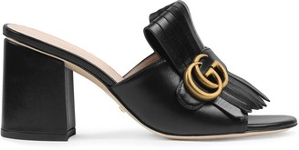 Gucci Leather mid-heel slide with Double G