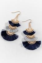 francesca's Nancy Tassel Fan Earrings - Navy