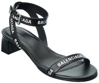 Balenciaga Logo Leather Sandal