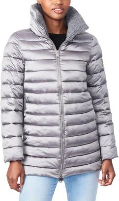 Bernardo Knit Detail EcoPlume(TM) Packable Puffer Coat