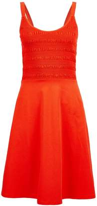 Dorothy Perkins Womens Coral Shirred Camisole Fit And Flare Cotton Dress