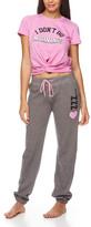 Sleep & Co Women's Sleep Bottoms PIVI - Pink 'I Don't Do Mornings' Tie-Hem Tee & Charcoal Joggers - Juniors