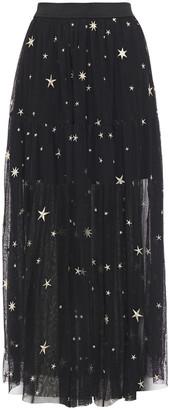 Maje Metallic Embroidered Tulle Maxi Skirt