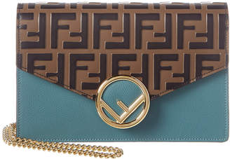 Fendi Ff Leather Wallet On Chain
