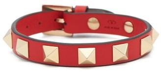 Valentino Rockstud Leather Bracelet - Red