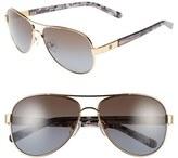 Tory Burch Women's 57Mm Polarized Aviator Sunglasses - Gold/ Brown/ Purple/ Polar