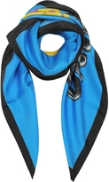 Moschino Blue and Black Pure Silk Teddy Bear Square Scarf