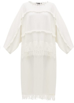 Joseph Fringed Panelled Cotton-blend Kaftan - White