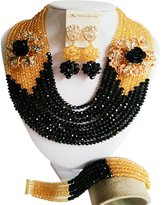 laanc Fashion Nigerian Wedding 6mm African Beads 10 Rows Black And Champagne Crystal Jewelry Sets A-028L